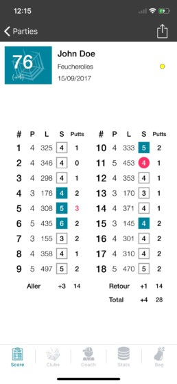 Spider Golf carte de score